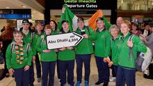 7 March 2019; Members of Team Ireland on the team's departure from Dublin Airport in advance of the Special Olympics World Summer Games in Abu Dhabi, United Arab Emirates. Photo by Matt Browne/Sportsfile