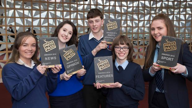 NewsBrands Ireland Press Pass awards which took place at the Convension Centre Dublin. Pictured from left: Kate Ní Dhubháin - Pobalscoil Chorca Dhuibhne, An Daingean, Winner of the News category, Síofra O'Dwyer, Scoil Mhuire, Buncrana, Winner of the Opinion category,  Jack Farrell, Causeway Comprehensive School, Kerry, Winner of the Photojournalism category, Caitríona Ní Chonaill, Coláiste Ghobnatan, Baile Mhic Ire, Winner of the Features category and Emma McGoey, Mean Scoil Mhuire, Longford, Winner of the Sports category. Photo: Fennell Photography 2017.