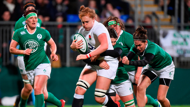 17 March 2017; Harriet Millar-Mills of England is tackled by Ciara Griffin of Ireland during the RBS Women's Six Nations Rugby Championship match between Ireland and England at Donnybrook Stadium in Donnybrook, Dublin. Photo by Matt Browne/Sportsfile