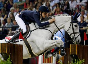 Bertram Allen, of Ireland, rides Molly Malone V during the FEI World Cup Jumping Final