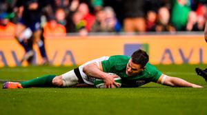 TOUCHDOWN: Jonathan Sexton dives over to score Ireland's second try during the Guinness Six Nations match against France at the Aviva Stadium. Photo: Brendan Moran/Sportsfile