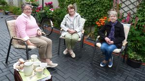 Mary Lehane, Nora Murphy and Betty Carmody drinking tea for MND for their annual fundraiser, which takes place on June 21