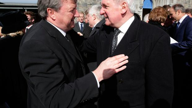 Bertie Ahern, former Taoiseach offers his condolences to Conor Haughey, outside St. Sylvester's Parish Church, Malahide after the funeral of his mother, Maureen Haughey. Picture credit; Damien Eagers 21/3/2017