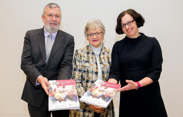 Deputy CEO Pobal Jerry Murphy Minister for Children and Youth Affairs, Katherine Zappone TD Dr Ela Hogan, Pobal during the launch of the Annual Early Years Sector Profile Report 2018/2019 at the Department of Children & Youth Affairs, Miesian Plaza, Baggot Street, Dublin. Photo: Gareth Chaney, Collins