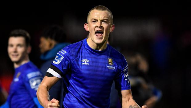 Michael O'Connor celebrates after Waterford's 1-0 win over St Pat's at Richmond Park. Photo by Sam Barnes/Sportsfile