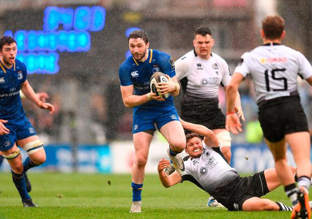 Leinster's Barry Daly in action against Zebre's Marcello Violi. Photo: Sam Barnes/Sportsfile