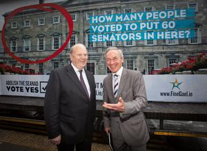 Missed chance: Then-ministers Michael Noonan and Richard Bruton at the unveiling of an ad as part of the campaign to abolish the Seanad in September 2013. Photo: Gareth Chaney Collins