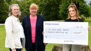 Eilis Fleming (right) presenting the cheque for €6,600, proceeds of the '100K in May' to Jillian O'Sullivan, Treasurer and PRO; and Shirley Teahan, Chair MS South Kerry Branch. Photo by Michelle Cooper Galvin