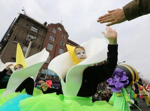 "Members of the Atomic Stage School with Artastic ""Wow O Clock"" pictured during the St Patricks Day Parade in Dublin"