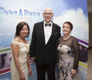Photographed at the Share A Dream Foundation Ball were Ciara Brolly, her sister Una Brolly and Shay Kinsella Founder of the Share A Dream Foundation.   Photograph Liam Burke Press 22