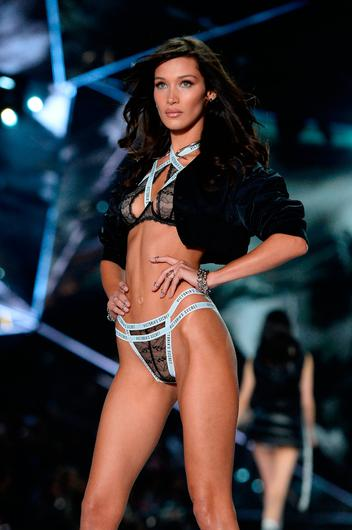 Bella Hadid walks the runway during the 2018 Victoria's Secret Fashion Show at Pier 94 on November 8, 2018 in New York City.  (Photo by Noam Galai/Getty Images)