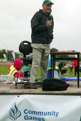The Voice behind the Community Games the last 25 years Anthony PA Anthony Fitzsimons at the HSE Community Games in Athlone. Photo molloyphotography