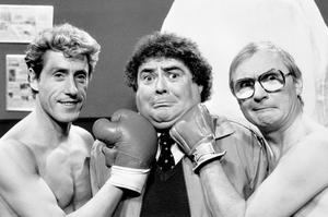 Comedian Eddie Large (centre) with Roger Daltrey (left) and comedy partner, Syd Little (right) during filming of an episode of the Little and Large show. Photo: PA