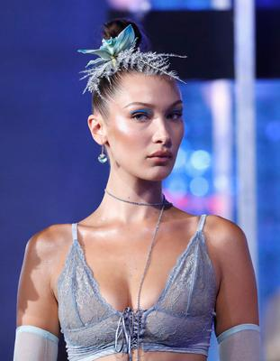 Model Bella Hadid walks the runway for the Savage X Fenty Fall/Winter 2018 fashion show during NYFW at the Brooklyn Navy Yard on September 12, 2018 in Brooklyn, NY.  (Photo by JP Yim/Getty Images for Savage X Fenty)