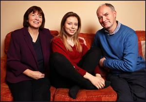 'National scandal': Mary and Pat Bennett with their daughter Aoife, a teacher, who developed narcolepsy after a swine flu vaccination. Photo: Steve Humphreys