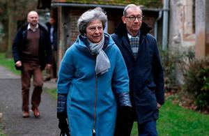 Not a prayer: British Prime Minister Theresa May, here leaving a church service in her Maidenhead constituency yesterday, is expected to fall well short in the crucial vote on her Brexit deal. Photo: REUTERS/Peter Nicholls