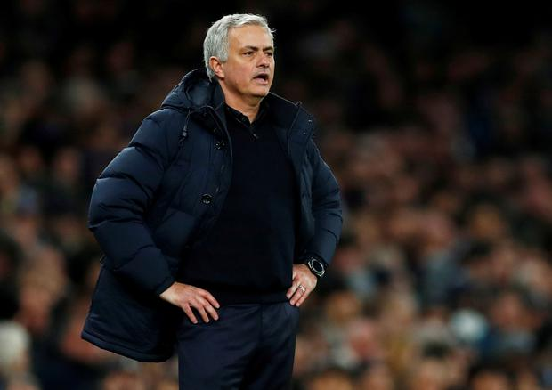 Tottenham Hotspur manager Jose Mourinho looks on during the Premier League defeat to Chelsea