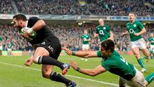 New Zealand's Ryan Crotty evades Conor Murray to score his last-gasp try at the Aviva Stadium in 2013