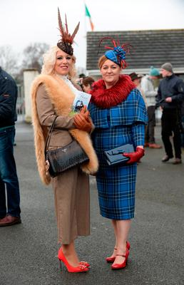 Dawn Leadon Bolger, from Wicklow, left, and Julie Kenny, from Castledermot at Winter Ladies Day, Naas Racecourse. Picture: Caroline Quinn