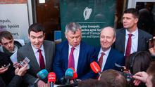 Minister of State for Tourism and Sport Brendan Griffin TD, left, with from left to right, FAI Interim Chief Executive Gary Owens, Minister for Transport, Tourism and Sport, Shane Ross TD, and FAI Interim Deputy Chief Executive Niall Quinn