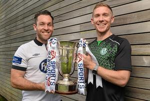 Shamrock Rovers' Conor Kenna and Dundalk's Mark Rossiter ahead of the EA Sports Cup final. Picture credit: David Maher / SPORTSFILE