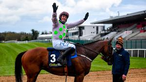27 April 2021; Paul Townend celebrates after winning the William Hill Champion Steeplechase on Chacun Pour Soi during day one of the Punchestown Festival at Punchestown Racecourse in Kildare. Photo by David Fitzgerald/Sportsfile