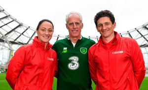 NO EFFECT: Mick McCarthy (c) at the SPAR FAI Primary School 5s National finals at the Aviva Stadium with Republic of Ireland international Megan Campbell and former Irish International Keith Andrews. Photo by Sam Barnes/Sportsfile
