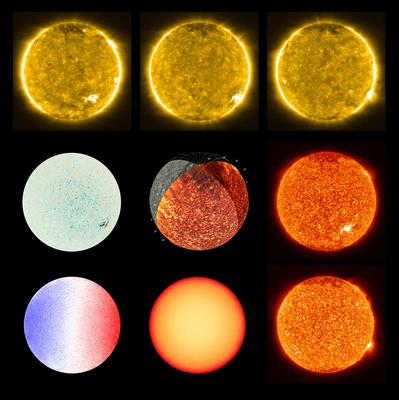 Images of the Sun taken with Polarimetric and Helioseismic Imager (PHI) and Extreme Ultraviolet Imager (EUI) of the Solar Orbiter spacecraft are seen in a combination of photographs released by NASA. Photo: Solar Orbiter/EUI Team; PHI Team/ESA & NASA/Handout via REUTERS