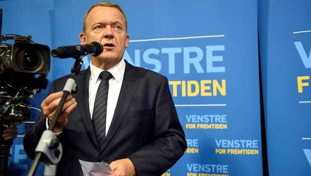 The Danish opposition Liberal Party leader Lars Loekke Rasmussen reacts to the election results Thursday, June 18, 2015, in Copenhagen for the Danish parlamentary elections. With more than 90 percent of votes counted, preliminary official results showed opposition leader Lars Loekke Rasmussen's bloc would get more than the 90 seats needed to secure a majority in the 179-seat legislature. (Joachim Ladefogde/Polfoto via AP)