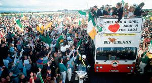 Ireland's homecoming from the Italia 90 World Cup. Photo: Ray McManus/Sportsfile