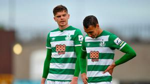 15 May 2021; Graham Burke, right, and Sean Gannon of Shamrock Rovers following their side's draw