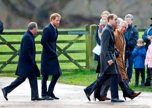 Viscount David Linley, Prince Harry, Prince William, Duke of Cambridge, Catherine, Duchess of Cambridge and Prince Charles, Prince of Wales attend the Sunday service at St Mary Magdalene Church, Sandringham on December 27, 2015 in King's Lynn, England. (Photo by Max Mumby/Indigo/Getty Images)