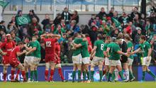 Ireland celebrate beating Wales on Saturday