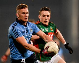 Ciaran Kilkenny, Dublin, in action against Patrick Durcan, Mayo