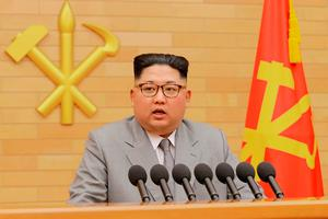 North Korean leader Kim Jong-un delivers a New Year's Day speech. Photo: KCNA via KNS