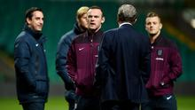 Wayne Rooney and other members of the England squad and management team at Celtic Park last night. Photo: Shaun Botterill/Getty Images
