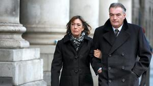 Ian Bailey and his partner, Jules Thomas (Left) pictured leaving the Four Courts on Wednesday after Mr Bailey gave evidence in his High Court action for damages. Pic: Courts Collins