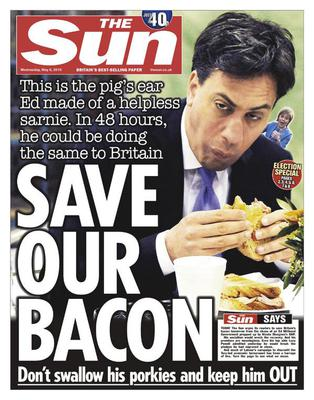 The front page of today's 'The Sun' one day before the UK's General Election