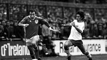 Dave Langan of Ireland goes past the Cyprus defence in 1980