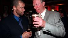 Paul McGrath and Jack Charlton at the Paul McGrath Testimonial Dinner at the Burlington Hotel, Dublin. Photo by Ray McManus/Sportsfile