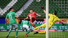 Leverkusen's Kai Havertz scores the opening goal against Werder Bremen on Monday: 'Last season, aged just 19, Havertz scored an extraordinary 17 goals in just 34 league games'. Photo: Stuart Franklin/AP