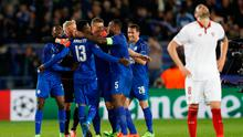 Leicester City players celebrate after the game. Photo: Reuters