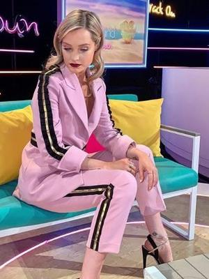 Style: Laura Whitmore wore the suit from Irish designer Joanne Hynes on 'Love Island: Aftersun'
