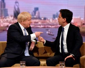 Britain's opposition Labour Party leader Ed Miliband (R) and Boris Johnson, mayor of London, talk on the Andrew Marr show in London April 26, 2015. REUTERS/Jeff Overs/BBC/Handout via Reuters