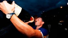 Team Europe's Rory McIlroy drinks champagne as they celebrate after winning the Ryder Cup