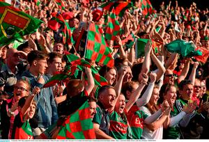 5 September 2015; Mayo supporters in the Cusack stand celebrate after Cillian O'Connor scored his side's first goal. GAA Football All-Ireland Senior Championship Semi-Final Replay, Dublin v Mayo. Croke Park, Dublin. Picture credit: Ray McManus / SPORTSFILE