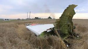 In this image taken from video, Thursday July 17, 2014,  showing part of the wreckage of a passenger plane carrying 295 people was shot down Thursday as it flew over the country and plumes of black smoke rose up near a rebel-held village Hrabove, in eastern Ukraine. AP Photo / Channel 1
