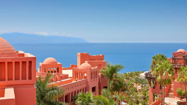 The gorgeous panorama from the terracotta-hued Ritz-Carlton Abama - Tenerife has a diverse landscape and is known as the Island of Eternal Spring