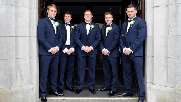 12/6/2015  (centre) Irish Rugby player Sean Cronin with from left to right, brothers, Liam, Colm and Neill Cronin, With best man Fergus McFadden. Sean Cronin and Claire Mulcahy Wedding,  St. Josephs Catholic Church, Castleconnell, Co. Limerick. Pic: Gareth Williams / Press 22
