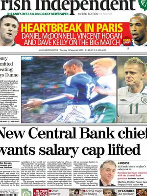 The Irish Independent front page from November 19th 2009